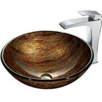 VIGO Amber Sunset Glass Vessel Sink and Faucet Set in Chrome