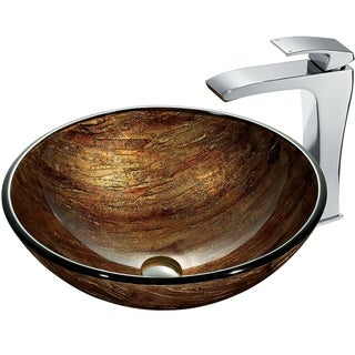 VIGO Amber Sunset Glass Vessel Sink Set and Blackstonian Vessel Faucet