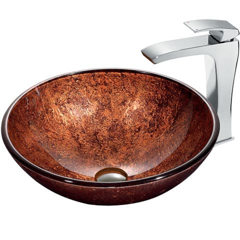VIGO Mahogany Moon Vessel Sink in Copper with Chrome Faucet