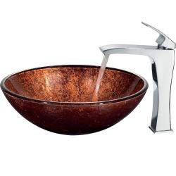 VIGO Mahogany Moon Vessel Sink in Copper with Chrome Faucet - Thumbnail 1