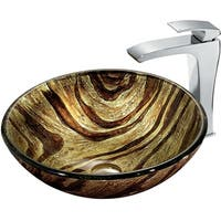 VIGO Zebra Glass Vessel Sink and Faucet Set in Chrome