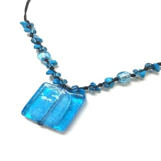 Italian Glass Handmade Necklace - Blue (Thailand)