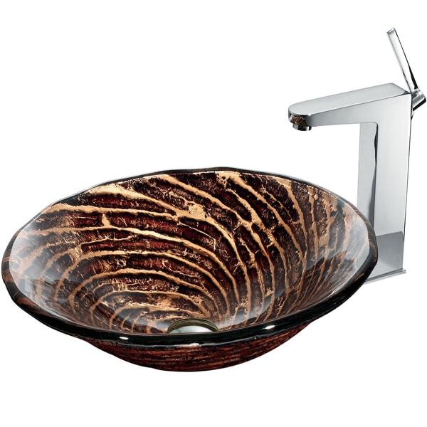 VIGO Chocolate Caramel Swirl Glass Vessel Sink and Faucet Set in Chrome