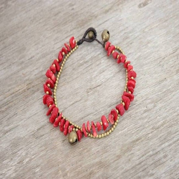 Handmade Shell and Brass Bead Anklet (Thailand)