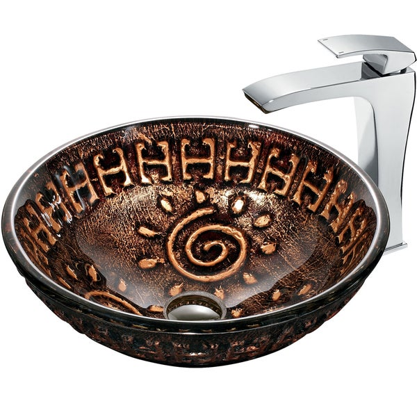 VIGO Aztec Glass Vessel Sink and Faucet Set in Chrome
