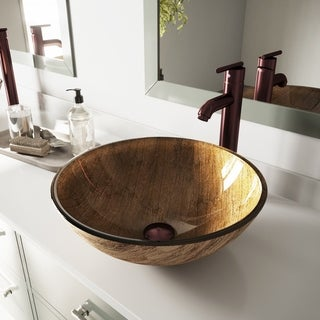 VIGO Amber Sunset Glass Vessel Sink and Seville Faucet Set in Oil Rubbed Bronze