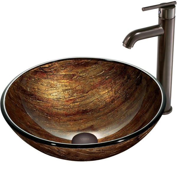 VIGO Amber Sunset Glass Vessel Sink and Faucet Set in Oil Rubbed Bronze
