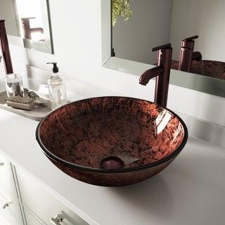 VIGO Mahogany Moon Vessel Sink and Oil Rubbed Bronze Faucet Set