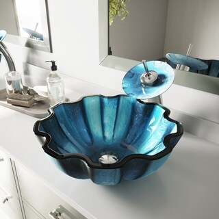 VIGO Mediterranean Seashell Glass Vessel Bathroom Sink