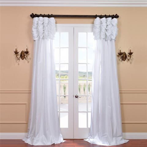 Exclusive Fabrics Ruched Header Solid Color Faux Silk Taffeta 96-inch Curtain Panel