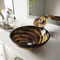 VIGO Northern Deep Black and Brown Glass Vessel Bathroom Sink