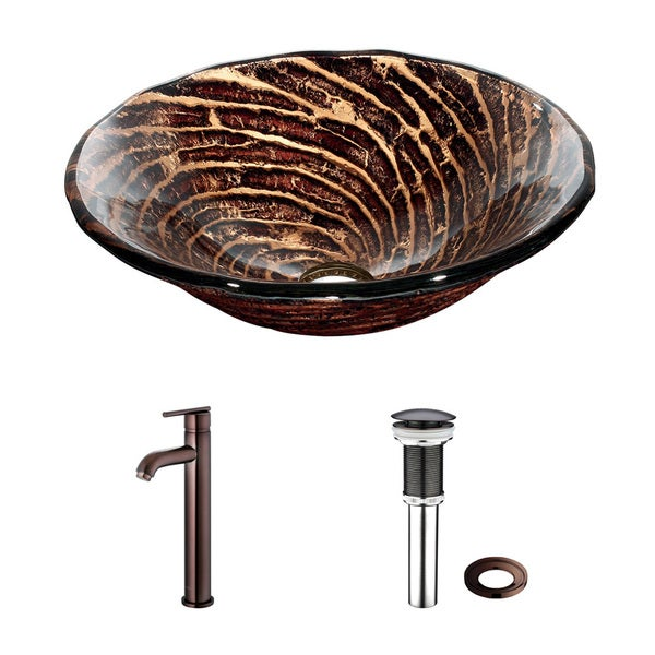 VIGO Chocolate Caramel Swirl Glass Vessel Sink and Faucet Set in Oil Rubbed Bronze