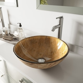 VIGO Amber Sunset Glass Vessel Sink and Faucet Set in Brushed Nickel
