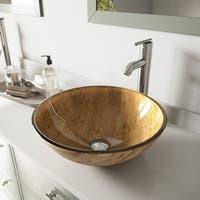 VIGO Amber Sunset Glass Vessel Bathroom Sink Set with Seville Faucet