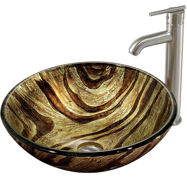 VIGO Zebra Glass Vessel Sink and Faucet Set in Brushed Nickel
