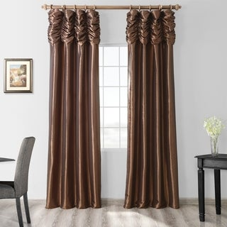 Exclusive Fabrics Ruched Header Solid Color Faux Silk Taffeta 108-inch Curtain Panel