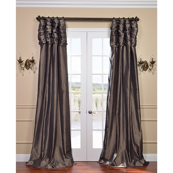 Exclusive Fabrics Mushroom Ruched Header Faux Silk Taffeta 120-inch Curtain Panel