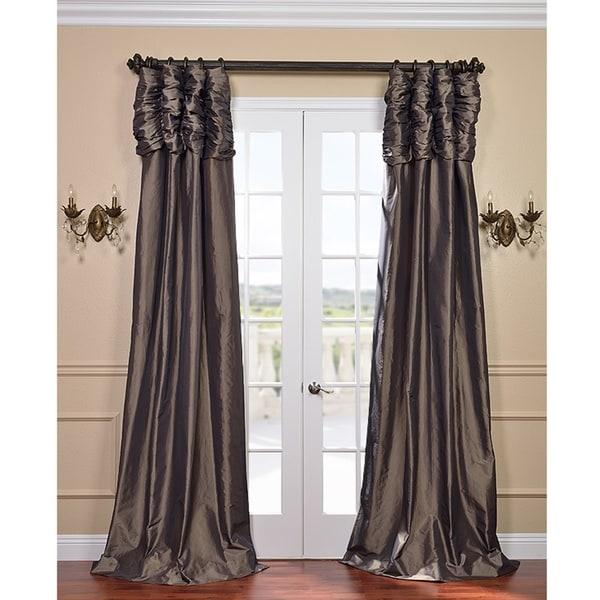 Exclusive Fabrics Mushroom Ruched Header Faux Silk Taffeta 96-inch Curtain Panel