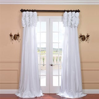 Exclusive Fabrics Ruched Header Solid Color Faux Silk Taffeta 120-inch Curtain Panel