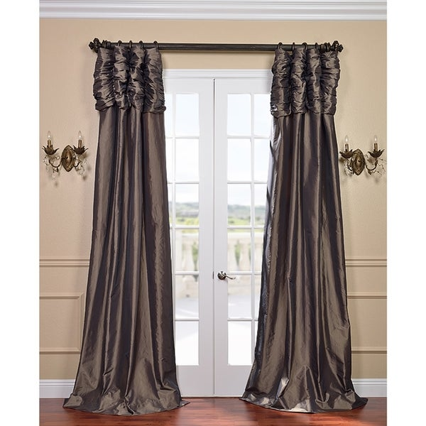 Exclusive Fabrics Mushroom Ruched Header Faux Silk Taffeta Curtain Panel