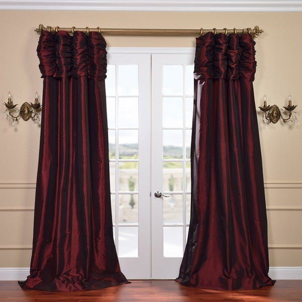 Exclusive Fabrics Syrah Ruched Header Faux Silk Taffeta Curtain Panel