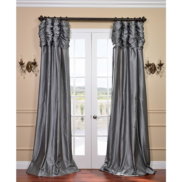 Exclusive Fabrics Ruched Header Platinum Solid Color Faux Silk Taffeta 120-inch Curtain Panel