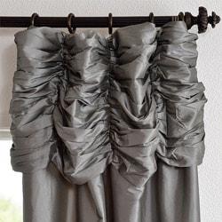 Exclusive Fabrics Graphite Ruched Header Faux Silk Taffeta 120-inch Curtain Panel - Thumbnail 1