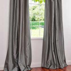 Exclusive Fabrics Graphite Ruched Header Faux Silk Taffeta 120-inch Curtain Panel - Thumbnail 2