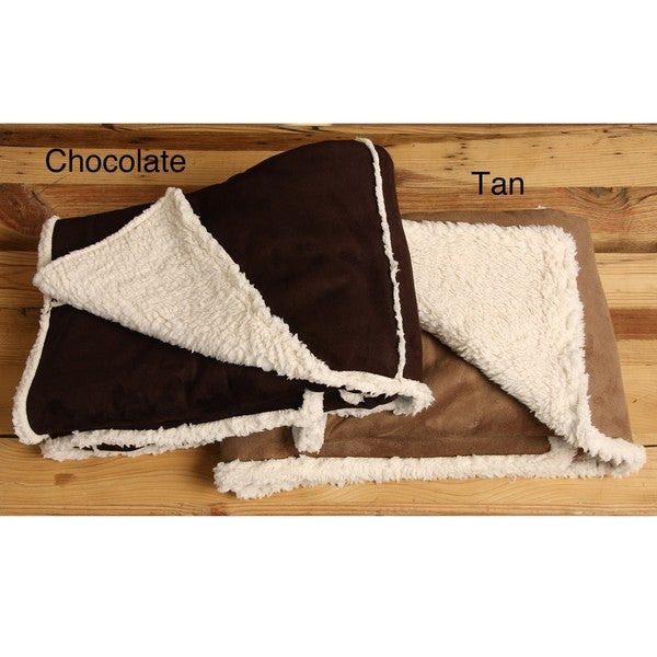 Shearling Faux Suede Reversible Throw