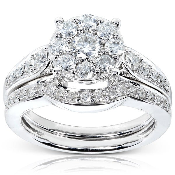 Annello by Kobelli 14k White Gold 7/8ct TDW Diamond Bridal Rings Set (H-I, I1-I2)