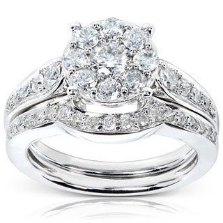 Annello by Kobelli 14k White Gold 7/8ct TDW Diamond Bridal Rings Set
