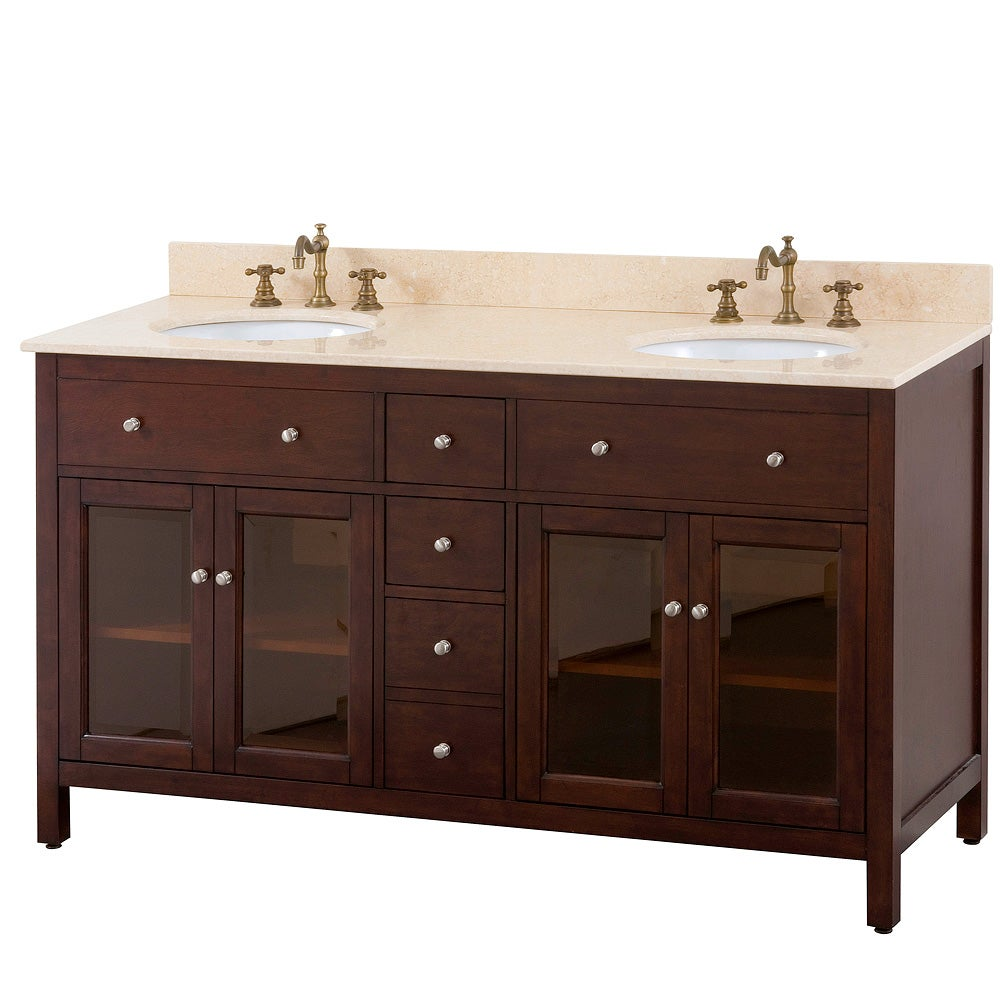 Avanity Lexington 60 Inch Double Vanity In Light Espresso Finish With Dual  Sinks And Top
