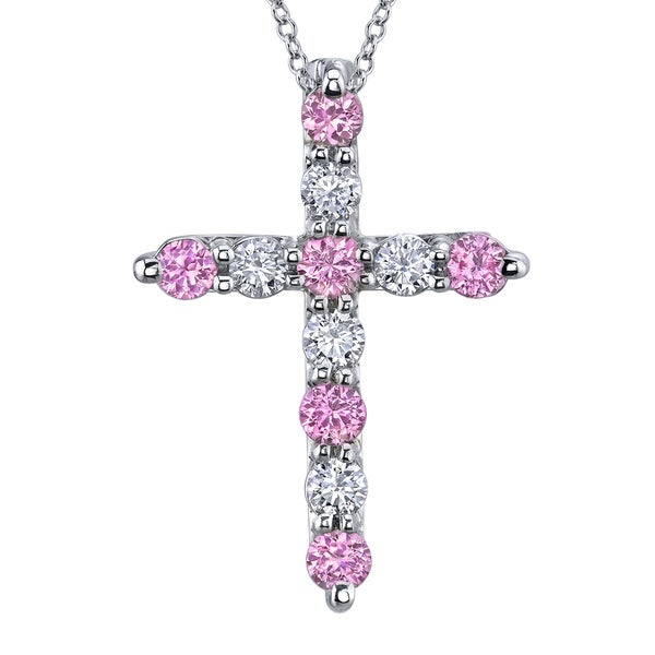 14k Gold Pink Sapphire and 3/4ct TDW Diamond Cross Necklace (H-I, SI2)
