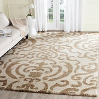 Safavieh Florida Shag Ornate Cream/ Beige Damask Area Rug - 8'6 x 12'