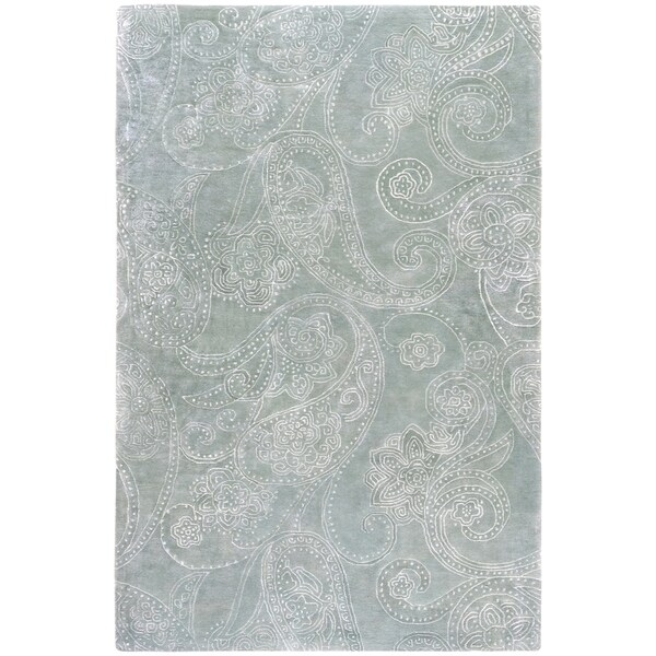 Hand-tufted Vannes Paisley Print Wool Area Rug - 5' x 8'