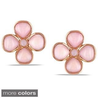 Miadora Sterling Silver Flower Gemstone Earrings