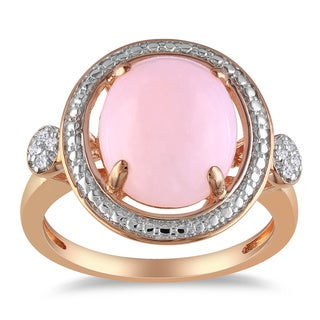 Miadora Pink Silver 2ct TGW Pink Opal and Diamond Accent Ring