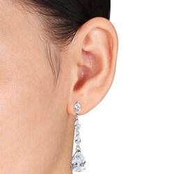 Miadora Sterling Silver Cubic Zirconia Drop Earrings (25 2/5ct TGW)
