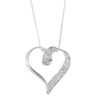 Sterling Silver Clear Cubic Zirconia Ring-clasp Heart Pendant