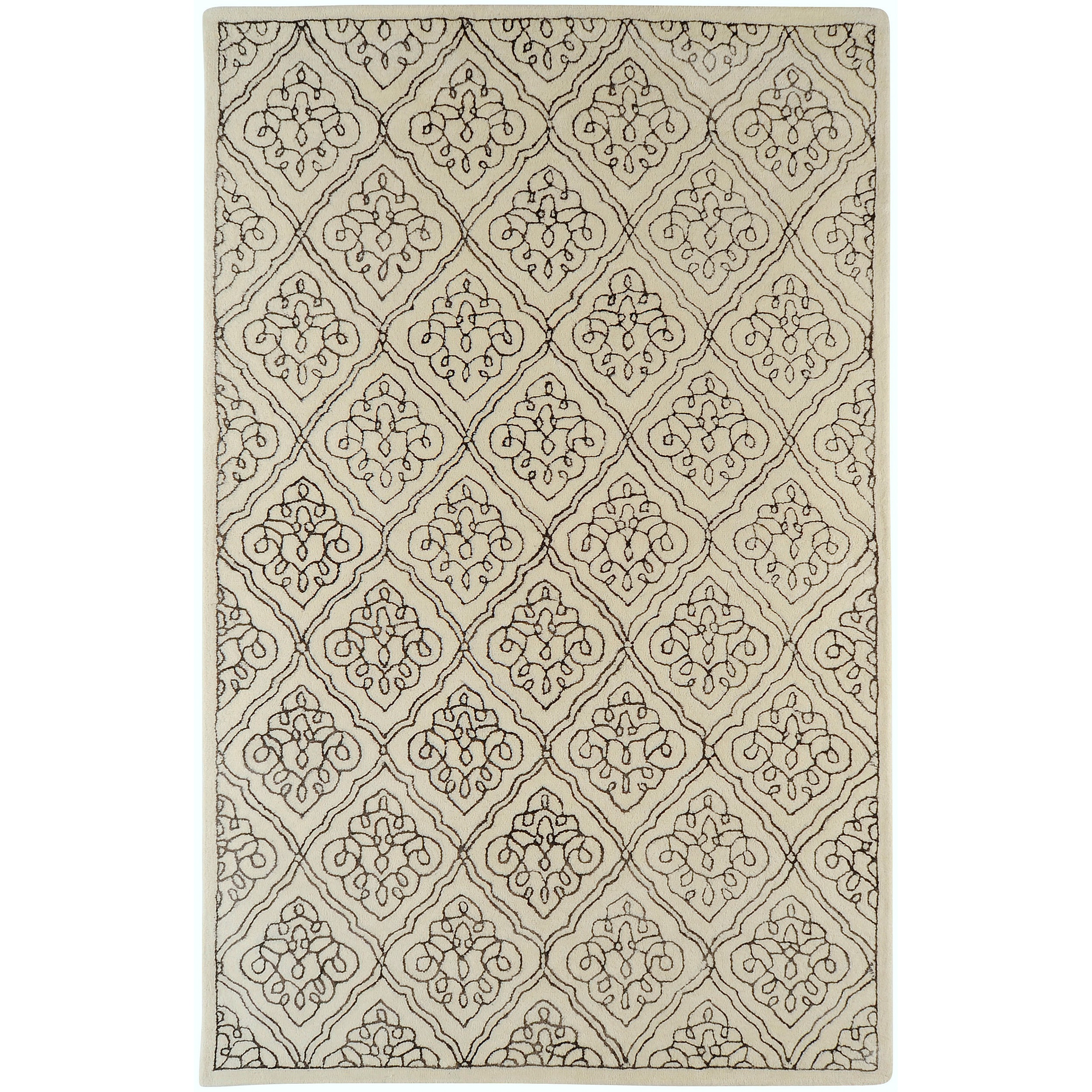 Hand-tufted Troyes Contemporary Geometric Wool Area Rug - 5' x 8'