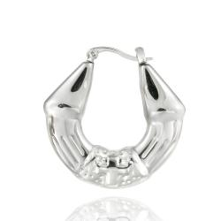 Mondevio Stainless Steel Polished Cross Design Hoop Earrings
