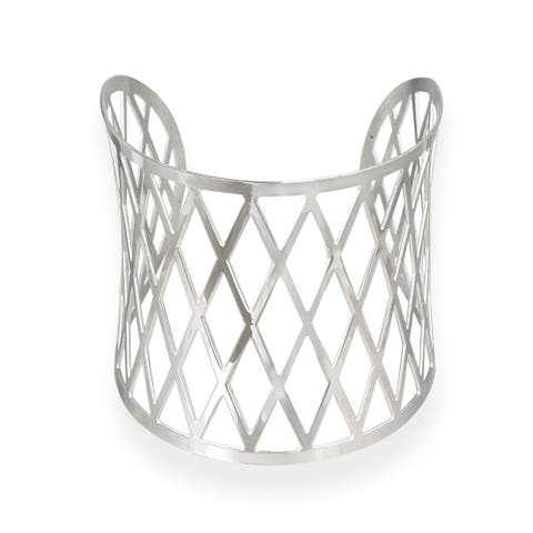 Mondevio Stainless Steel Diamond Design Cuff Bracelet