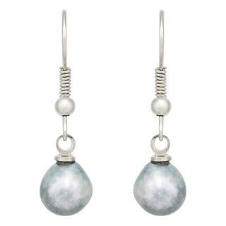 Pearlyta Sterling Silver Grey Akoya Baroque Pearl Earrings (7-8 mm)