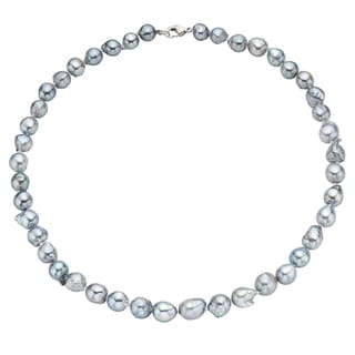 Pearlyta Sterling Silver Grey Akoya Baroque Pearl Strand Necklace (7-8 mm)