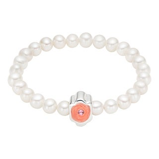 Pearlyta 25-pearl Charm-centered Enamel Flower Girl Baby Stretch Bracelet (4 - 5 mm) - White
