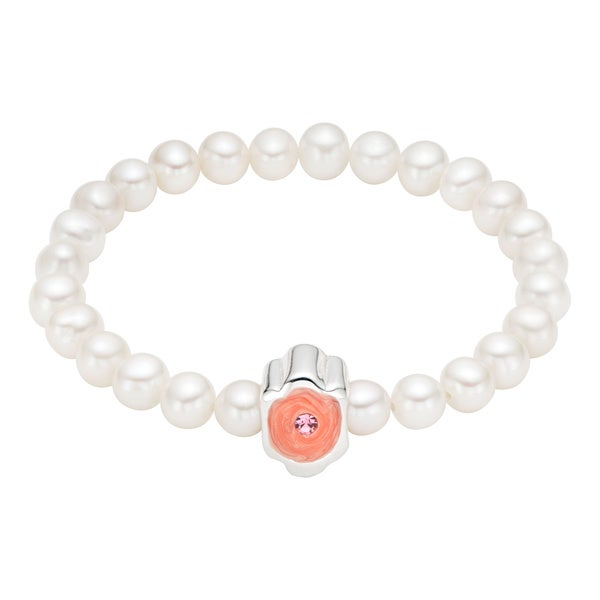Pearlyta 25-pearl Charm-centered Enamel Flower Girl Baby Stretch Bracelet (4 - 5 mm) - White