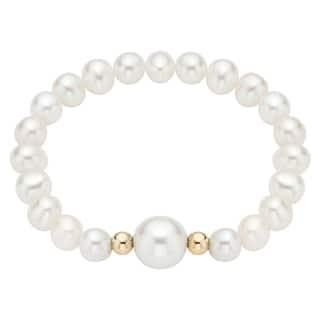Pearlyta 14k Gold Bead Pearl Baby Stretch Bracelet with White Center (4-6 mm)|https://ak1.ostkcdn.com/images/products/6369430/6369430/Pearlyta-14k-Gold-Bead-Pearl-Baby-Bracelet-with-White-Center-4-6-mm-P13986171.jpeg?impolicy=medium