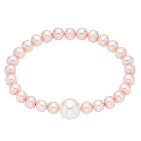 Pearlyta Pink Freshwater Pearl Baby Stretch Bracelet with White Center (4-6 mm)