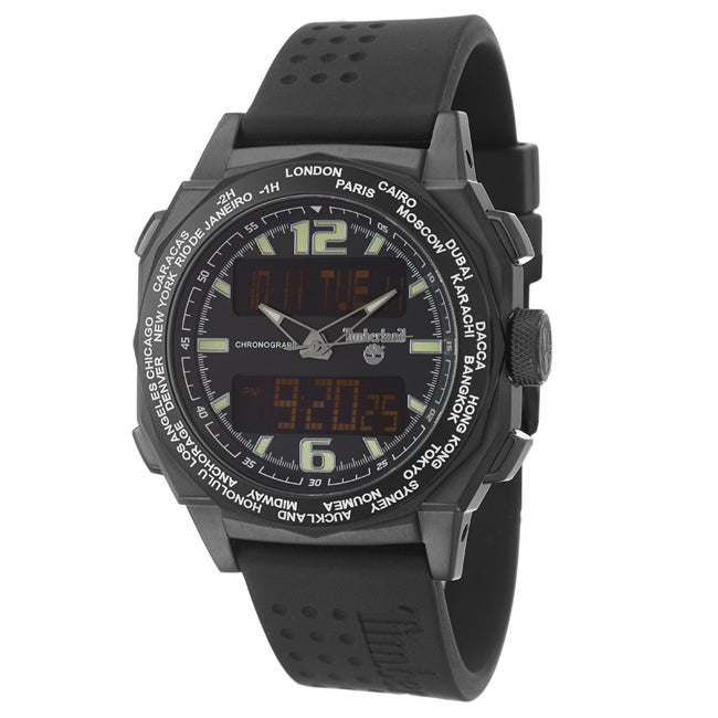 Timberland Men's 'Steprock' Black Stainless Steel and Silicon Quartz Digital Chronograph Watch