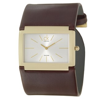 Calvin Klein Women's 'Dress' Yellow Goldplated Stainless Steel and Leather Wide-Strap Quartz Watch